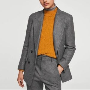 Committed collection recycled wool blazer